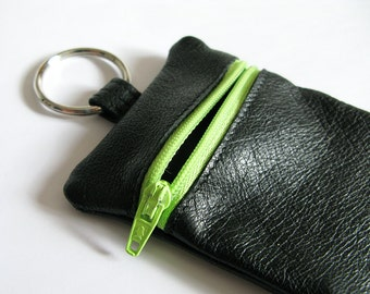 Change Purse - Recycled Leather, Keychain, Pouch, Wallet, beige, turquoise