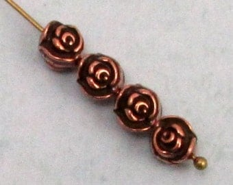 Antique Copper Rose Bead, 8 MM, TierraCast, 4 Pc. TC69