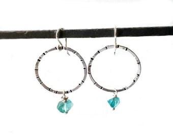 Sterling Silver Hoop Earrings Blue Apatite Drops