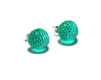 Teal Resin Stud Earrings, Sparkly Round Blue Green Studs, Aqua Green Post Earrings