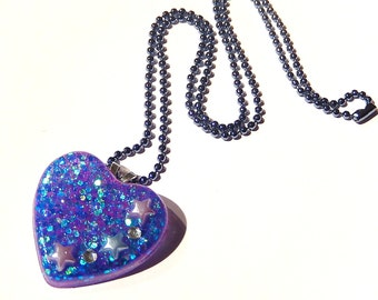 Iridescent Heart Necklace, Pastel Goth Glitter Resin, Bluish Purple Holographic Necklace