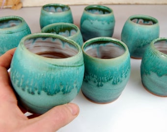 Stemless Wine Glass or Drinking Cup in Turquoise - Made to Order