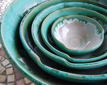 Set of Five Nesting Serving Bowls in Turquoise- Made to Order