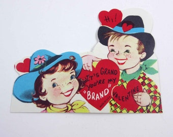 Vintage Valentine Greeting Card with Cowboy and Cowgirl and Cowboy Hats