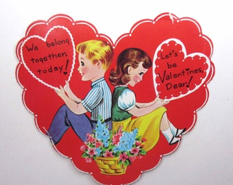 Vintage Large Valentine Greeting Card with Cute Girl and Boy with Basket of Flowers in Big Red Heart