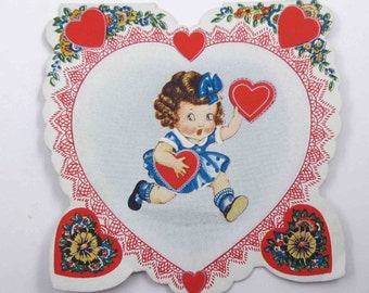 Vintage Fancy Antique Valentine Greeting Card with Little Girl in Blue Polka Dot Dress and Bow with Hearts