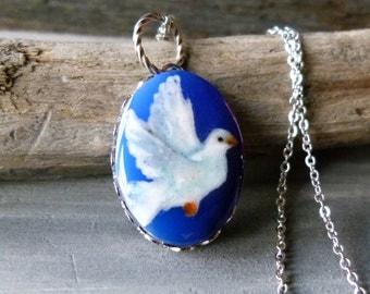 Dove necklace - fused glass pendant