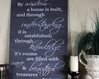 Large 24x36 or Medium 18x24 By Wisdom a House Is Built Proverbs 24:3 Chalkboard Style Sign Board