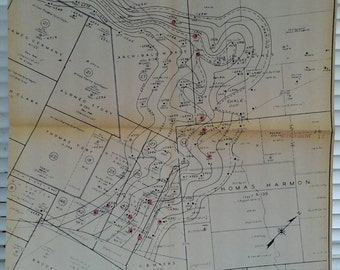 1961 Map , Oil Well, Pan American Petroleum , Corpus Christi District, Burnell Field, Bee & Karnes Counties, Texas, Slick Contour, Texana