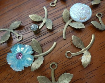 10 Vintage Raw Brass Leaf Stems with Rivet Hole C26