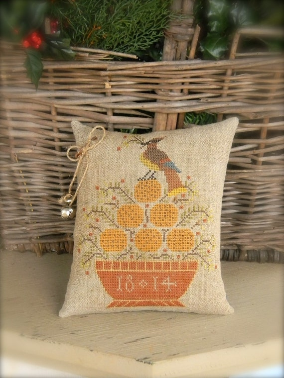 Cedar Waxwing - PAPER PATTERN for cross stitch - from Notforgotten Farm