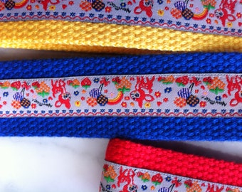 Large or Small Webbing Wristlet Key Fob - Cute Deers with rainbow and strawberry design
