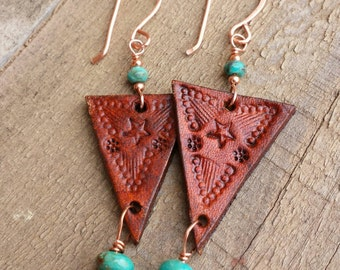 Leather Earrings  - Hand Stamped - Turquoise and Copper Dangle Earrings - Western Jewelry - Cowgirl Jewelry - Tan Leather