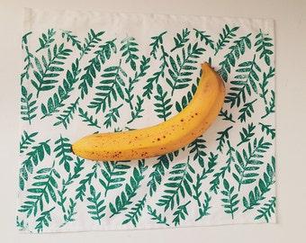 jungle leaves. block print cloth napkins. set of four.