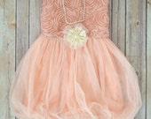 Coral Pink Toddler Girls Dress, Girls coral dress,  Chiffon rosette  dress, Flower Girl dress,  Vintage Toddler Dress, Rustic Wedding