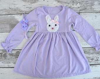 Girls Easter Dress, Easter Bunny Dress, Toddler Easter Dress, Purple Easter Dress, Easter headband, Bunny headband