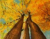 Wild autumn, 16x20 mixed media photograph, original art, wall art, nature decor, autumn trees, Fall trees, tree art, Michigan art