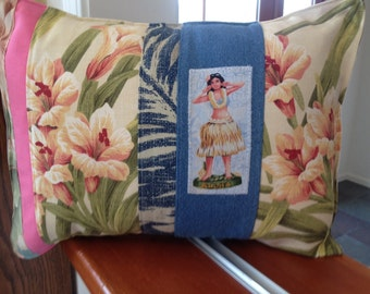 Beach Hula Girl Beach House Pillow with tropical floral prints, denim and pink stripes
