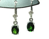 Chrome diopside sterling silver lever back dangle earrings