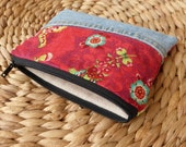 Denim & Whimscal Red Zippper Pouch