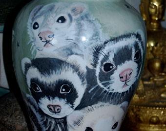 Ceramic burial PET URN Custom large multiple pet ferret pet any breed personalized