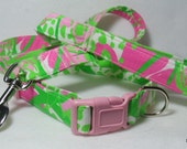 Handcrafted Lilly Pulitzer Cabana Pink in the GardenDog Collar & Leash Set