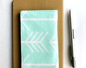 Mint Check Book Cover, Arrow Fabric Checkbook Holder, Gift for Friends