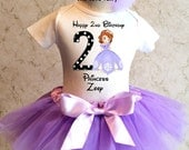 Princess Sofia the first Lavender Purple 1st 2nd 3rd 4th 5th 6th 7th Birthday Personalized Custom Name Age Shirt Tutu Set Girl Outfit Sophia