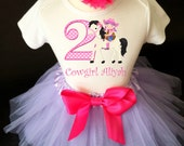 Cowgirl Pony White Horse Black Mane Pink Purple Lavender  2nd Second Girl Birthday Tutu Outfit Custom Personalized Name Age Party Shirt Set