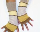 Fingerless Gloves, Arm Warmers, (Light Copper, Mustard, Light Tan, Buttercup, Patched Tan)