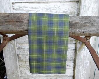 Selvedge moss tartan pocket square - eco vintage Scottish cotton