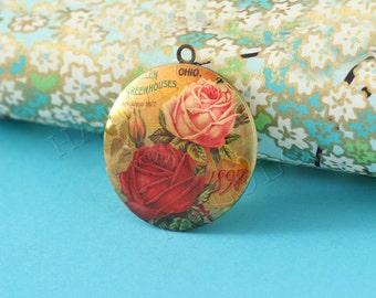 flower round antique bronze locket 32mm (LD138)
