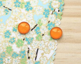 Sale - 10 pcs handmade orange color glass cabochons 12mm (12-91242)