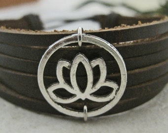 Lotus Flower Leather Wrap Bracelet Cuff