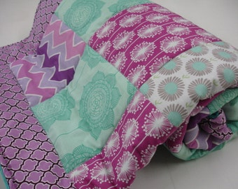 Teal Lavender Gray Modern Wallpaper Floral Minky Patchwork Blanket You Choose Size and Minky Color MADE TO ORDER No Batting