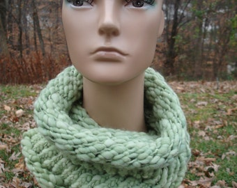 Thick and Thin Merino Wool Knit Snood Cowl Sage Light Green