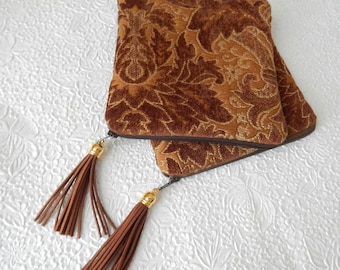 Upholstery pouch,  tan brown chenille purse, tapestry purse, zipper pouch, lined clutch, fashion accessory, womens accessory