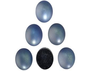 Vintage Matte Light Sapphire Blue Glass Cabochons 10x8mm (6) cab869A