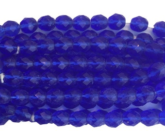 Transparent Faceted Dark Sapphire Blue Glass Beads 8mm (30) bds1501F