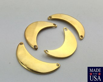 2 Hole Gold Plated Small Crescent Pendant Connector  (8) mtl388F