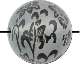Frosted Beads with Jet Black Floral Scroll Design 18mm bds149