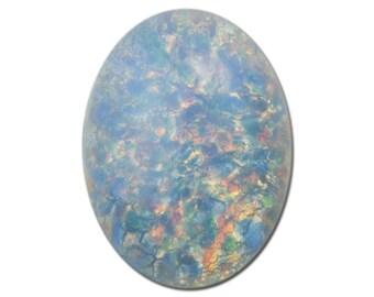 Czech Blue Opal Oval Glass Cabochons 18mm x 13mm (2) cab440E