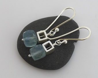 Petite Silver Cubes with Fluorite Earrings - E1230