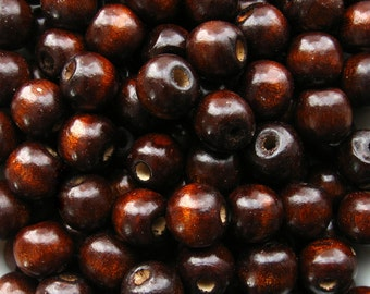 Brown Wooden Beads - Over 100 - 12mm Glossy Dark Chocolate Wood Beads (WBD0042)