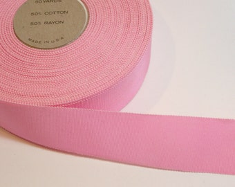 Vintage Baby Pink Petersham Grosgrain Ribbon 1 1/2 inches wide x 10 yards, Rayon Cotton Blend, Pink Ribbon