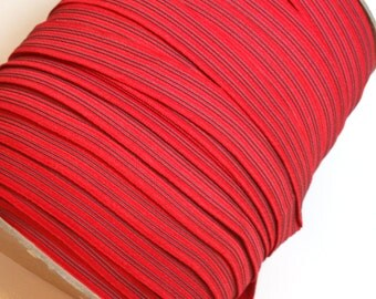 Red Elastic, Red Gripper Elastic Sewing Trim 3/4 inch wide x 5 yards, Rubberized Elastic
