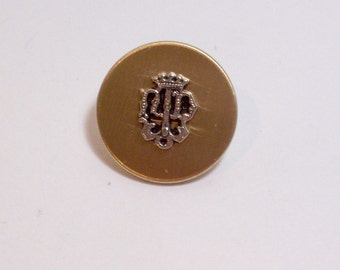 Goldtone Metal and Silvertone Buttons 3/4 inch diameter x 10 pieces Coat of Arms, Solid Metal Button