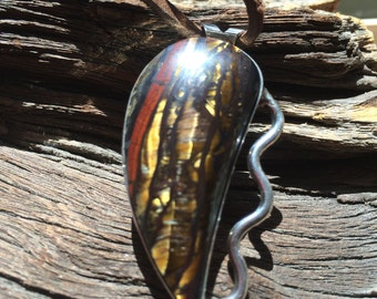 Tiger Iron Sterling Silver Pendant