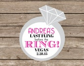 Waterproof bachelorette Stickers, Personalized cup stickers, bachelorette water bottle stickers, Last Fling before the ring, 9 stickers