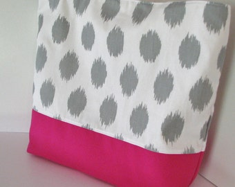 Ikat Dot Tote beach bag . Gray Ikat dot and Hot Pink . Standard size . great bridesmaid gifts Teacher's tote . MONOGRAMMING Available